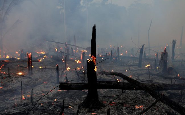 A fire burns a tract of Amazon jungle as it is cleared by a farmer in Machadinho do Oeste, Rondonia state, Brazil September 2, 2019. REUTERS/Ricardo Moraes - RC1F6551D1A0